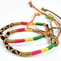 BR2516 Beautiful Rasta Bracelet Crochet Handmade!