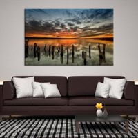 18498 - Cloudy Sky with the Sunset  Wall Art Canvas Print