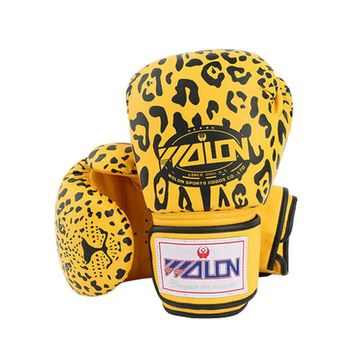 Sexy Leopard Adult Boxing Gloves Training Gloves BLACK YELLOW, 10 Ounce