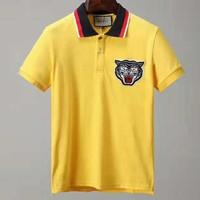 GUCCI 2018 new autumn men's casual wild round neck short-sleeved shirt yellow