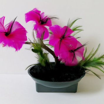 Magenta Feather Flower Centerpiece, Flowering bonsai tree, Unique table decor idea, Fuchsia hibiscus floral arrangement, hot pink feathers