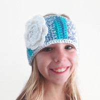 Knit Headband Teen Girls Ear Warmer Crochet Blue Purple White Flower