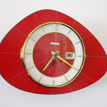 French 1950-60s Atomic Age BAYARD RED Formica Wall Clock-Calendar/Date -Triangle or Boomerang Shape - New Old Stock -Great Working Condition