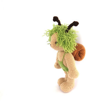crocheted snail doll spring mint green beige boy snail whimsical animal doll toy for children garden animal cute amigurumi kawaii doll