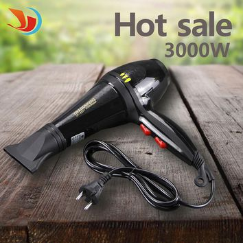 3000W AC Motor NEW 2016 Low Noise Electric Handle Hair Dryer Black Professional Blow Dryer Bathroom Salon Equipment 220V QST