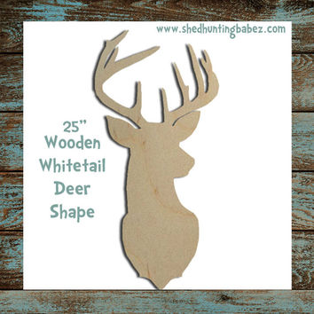 "Whitetail Deer Wooden Shape 25"" DIY Craft, Wedding Decor, Rustic Home Decor"