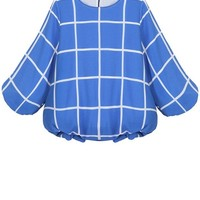 Plaid Puff Sleeve Blouse - OASAP.com