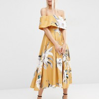 ASOS Premium Off The Shoulder Bardot Midi Prom Dress In Mustard Floral