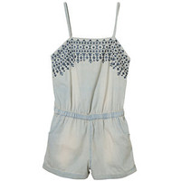 Teens Light Blue Aztec Embroidered Denim Playsuit