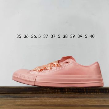 Kuyou Fa19630 Converse All Star Silk Pink Sneakers Low Top Canvas Shoes