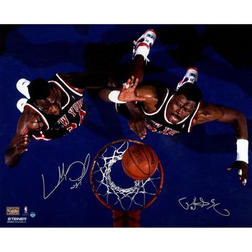 Charles Oakley/Patrick Ewing Dual Signed Overhead Shot 16x20 Photo