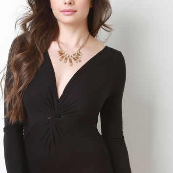 Twist Front Deep V-Neck Bodysuit