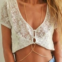 Mae & Mee 1PC Newest Simple Gold Bikini Beach Crossover Harness Necklace Waist Belt Belly Unibody Body Chain