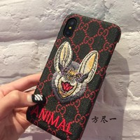 GUCCI new embroidery rabbit iphone7/8plus gucci mobile phone shell apple 6s protection set x