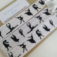 Dance hair ties, 3 ballet hair ties, dancer silhouettes, white FOE, foldover elastic, ponytail holders, girl gift, dancer gift, Easter gift