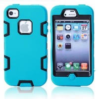 MagicSky Robot Series Hybrid Case for Apple iPhone 4 4S 4G - 1 Pack - Retail Packaging - Black/Blue