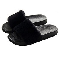 Womens Slippers Fuzzy SlidesFluffy Sandals Faux Fur Flip Flops Open Toe Soft Indoor Outdoor Pink Black Grey