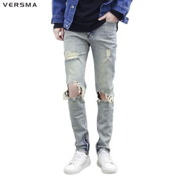 VERSMA 2017 American Stylish Justin Bieber Kanye West Ripped Jeans Men High Street Hip Hop Punk Ankle Zipper Denim Jeans Pants