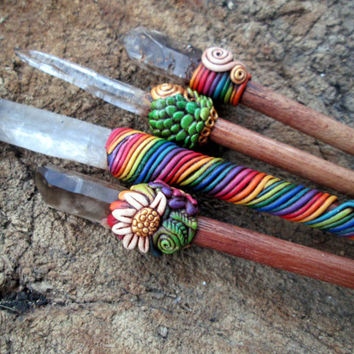 Malawi Smoky Quartz Rainbow wand (24cm)  <3