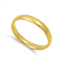 Unisex Stainless Steel Gold Plated Comfort Fit 3mm Wedding Band