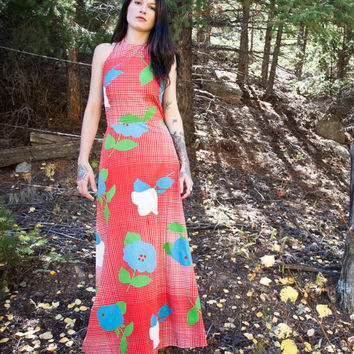 SALE 30% OFF - Red Hot Halter Vintage Maxi Dress