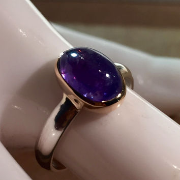 Tanzanite Cabochon in 14kt Gold Setting on Sterling Silver Ring. Size US-5.75, UK- K 1/2.