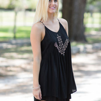 Bailar Conmigo Embroidered Tank Dress - Black