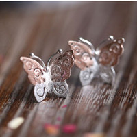 14k Gold Plated Sterling Silver Hollow Butterfly Earring, Handmade Hollow Butterfly Ear Studs, Bridesmaid Earrings, Bridal, Wedding, Gift