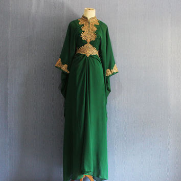 Fancy Green Caftan Dress, Blue Moroccan Maxi Kaftan Wedding Dress, Moroccan Dubai kaftan dress, Summer Party Gold Embroidery Dress