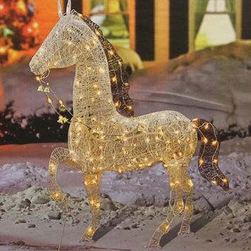 Horse Christmas Yard Art - 150 Clear Mini Lights