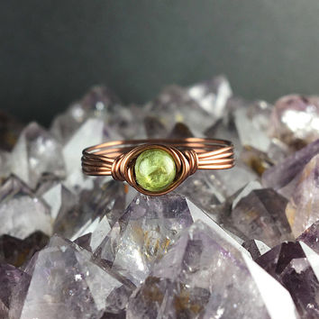 Peridot ring, Peridot jewelry, gemstone ring, dainty stone rings, dainty ring, wire wrapped ring, August birthstone ring, August birthstone