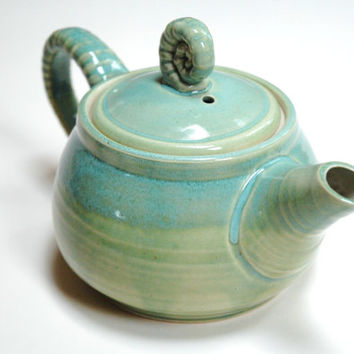 Light teal teapot,pottery teapot,ceramic green teapot, green tea maker,spring teapot,medium blue teapot,