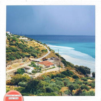 Square digital download, Greece instant printable, Samos after a storm, landscape, travel photography, fine art, wall art, home decor, ocean
