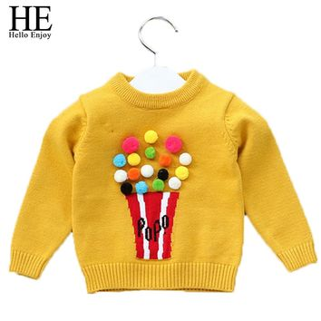 Boys Sweaters A Winter Kids Clothes Girl Pullover Cartoon Popcorn Long Sleeve Sweater Baby Boy Clothes