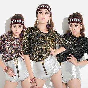 Cool Free Shipping Fashion Women Tee Crop Loose Summer Tops Sequins Sexy T-shirt Casual Nightclub Queen Multicolored Sequins T shirtAT_93_12