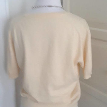 1950s Cream Cashmere Pullover Sweater, Short Sleeves, Ribbed, Pin Up, Size L/XL, 40-52B