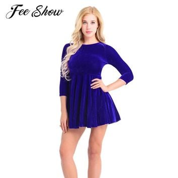 Gorgeous Womens Elegant Long Sleeve Casual Mini Dress A-Line Ruffle Shining Velvet Skater Short Dress Swing Cocktail Party Dress