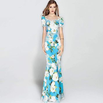 Strapless Blue Lace 3D Flower Runway Maxi Dress Womens Floral Print Mermaid Long Dress