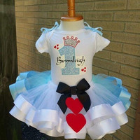 Alice and wonderland tutu, birthday tutu, first birthday tutu, ribbon