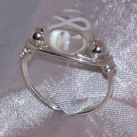 White Ribbon Lung Cancer Awareness Bead Ring Sizes 5 thru 13 (Clear) Unique