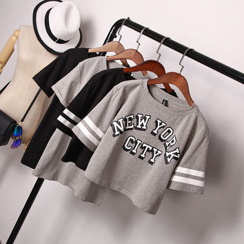 2016 Summer New Korean Simple Casual Womens T-Shirt New York Letters Print Short Sleeved Tshirt Women Tops Loose Cotton Crop Top