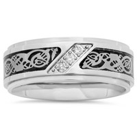 Stainless Steel .10 cttw Diamond Black Ion-Plated Celtic Inlay Men's Wedding Band