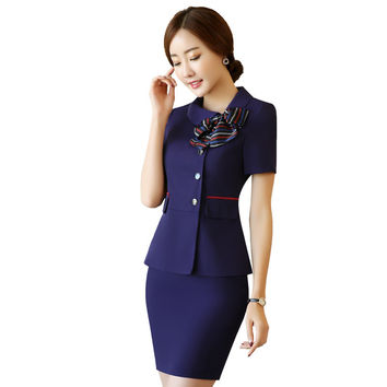 2 piece women skirt career suits overalls 2017 new fashion business suits ruffled button-down blazers+pencil ladies skirts