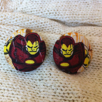 Iron Man Fabric Button Earrings, Covered Button Earrings, Superhero Earrings, Cosplay, Comic Con Earrings