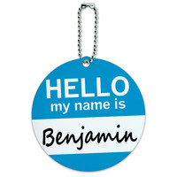 Benjamin Hello My Name Is Round ID Card Luggage Tag