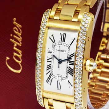 Cartier Ladies Tank Americaine 18k Gold & Diamonds On Bracelet Box/Papers 2483