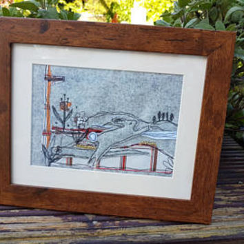 Rabbit free motion machine embroidery-wildlife-emboridery framed work-sewing textiles artwork-textile media picture-college textiles