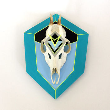 TURQUOISE, TEAL & NEON yellow aztec navajo geometric arrow painted mount deer skull and antlers horns - taxidermy animal art unusual decor