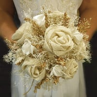 "Burlap and Babies Breath Bridal Bouquet, Rustic, Elegant and Country. Available as a 6"", 8"" or 10"" Made to Order."