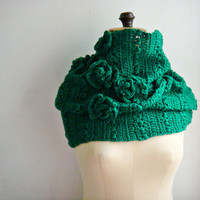Green Crochet Cowl Chunky Ifinity Scarf Flower Snood